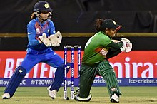 Sanjida batting for Bangladesh during the 2020 ICC Women's T20 World Cup