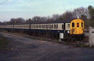 Epsom Downs railway station - 4EPB in Epsom Downs in 1984.