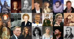 alt=1. řada: Alfréd Veliký • Oliver Cromwell • William Shakespeare • Michael Palin • Georgiana Cavendish • Walter Raleigh • Sting  2. řada: Alžběta I. • Bobby Moore • Margaret Thatcher • David Beckham • Harold Godwinson • Kate Winslet • Charles Dickens  3. řada: Hadrián IV. • Daniel Craig • Isaac Newton • George Harrison • Jane Austen • Damon Albarn • George Stephenson