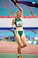 271000 - Athletics track T46 Amy Winters celebrates gold - 3b - 2000 Sydney race photo.jpg