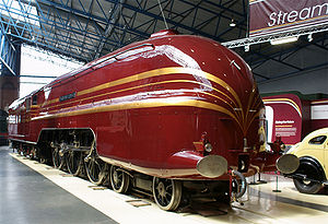 Streamliner - Preserved British steam locomotive of the former London, Midland and Scottish (LMS) Railway, Princess Coronation Class No. 6229 ''Duchess of Hamilton'', 6 June 2009. The locomotive was built as a streamliner in 1938, and was exported to the United States (painted as Class sister No. 6220) for a 3,000-mile tour and visit to the 1939 New York World's Fair, before returning in 1942. The streamlining was removed in 1947 for ease of maintenance. The locomotive was re-streamlined in 2009 and displayed at the National Railway Museum in York.