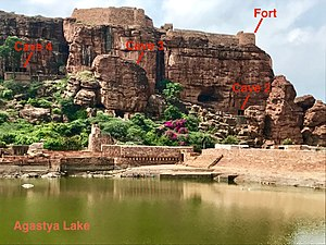 Badami cave temples - Caves on the cliff above Agastya Lake