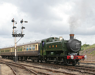 GWR 0-6-0PT - Another B.R. pannier in an unhistorical green livery: post-1948 No. 9466 at Tyseley