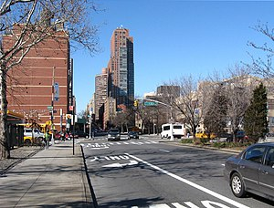 96th Street (Manhattan) - Crossing First Avenue, looking west