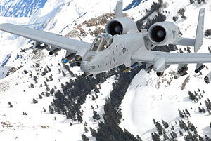 190th Fighter Squadron - 190th FS A-10A Thunderbolt II 78-0703 flies over the Sawtooth Range, Idaho, 12 February 2008.