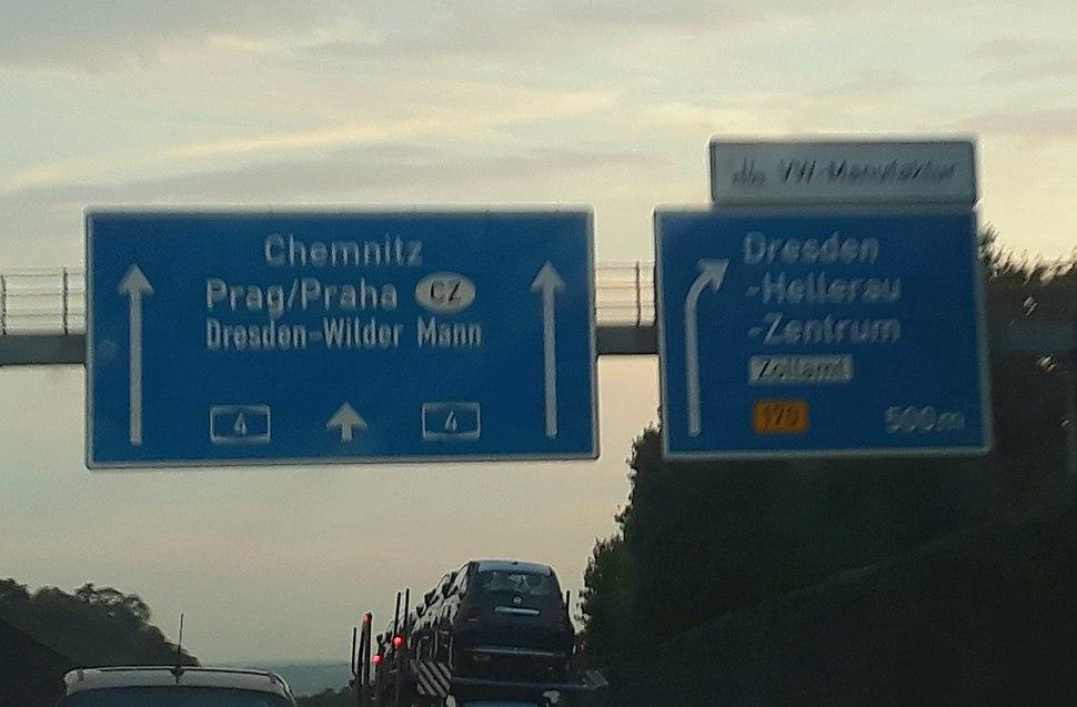 A4 autobahn sign near Dresden, Germany