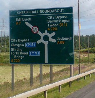 A7 road (Great Britain) - The destination sign on the A7 at the Sheriffhall Roundabout for the A720 Edinburgh City Bypass