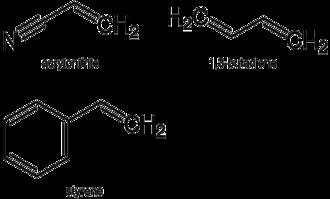 Acrylonitrile butadiene styrene - Monomers in ABS polymer