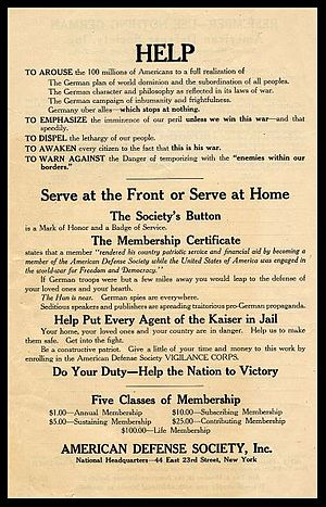American Defense Society - This leaflet of the American Defense Society from the time of World War I lists the organization's dues structure and general aims.