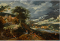 AN EXTENSIVE LANDSCAPE WITH A BULL HUNT.png
