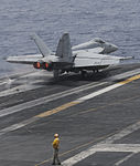 A U.S. Navy F-A-18E Super Hornet aircraft assigned to Strike Fighter Squadron (VFA) 147 launches from the aircraft carrier USS Nimitz (CVN 68) June 19, 2013, in the Gulf of Oman 130619-N-AZ866-233.jpg
