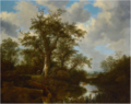 A WOODED LANDSCAPE WITH CATTLE CROSSING A STREAM IN THE DISTANCE.png