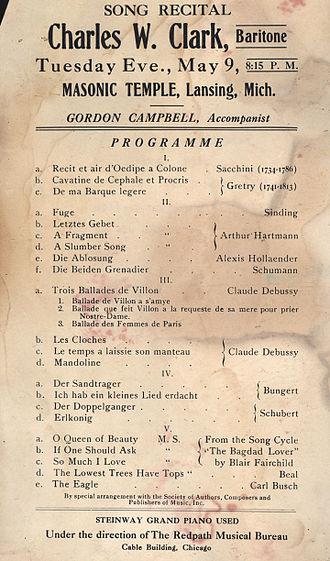 Charles W. Clark - Concert program from 1916