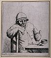 A man sits at a table preparing to smoke his pipe. Etching b Wellcome V0019029.jpg