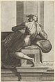 A naked man (Ignudo), seated and facing left, after Michelangelo's 'The Last Judgment' fresco in the Sistine Chapel MET DP836913.jpg