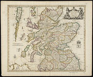 "Breadalbane, Scotland - A 1689 map, showing the borders of Breadalbane as a distinct Province (in blue, at the centre of the map, as ""broad alba-in"")"