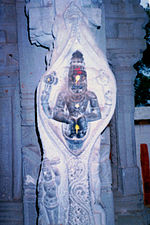 A pillar at Ahobilam temple in Kurnool District of Andhra Pradesh