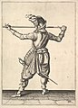 A soldier, seen from the rear, while turning to the right and holding his pike horizontally, from the Lansquenets series, plate 30, in Wapenhandelinghe van Roers Musquetten Ende Spiessen (The Exercise of Arms) MET DP828799.jpg