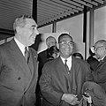 Aankomst dr. J. H. E. Ferrier , gouverneur van Suriname Schiphol. J. H. E. Ferri, Bestanddeelnr 921-1427.jpg