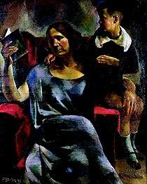 Aba-Novák Mrs. Dezső Kosztolányi and Her Son, Adam 1923.jpg