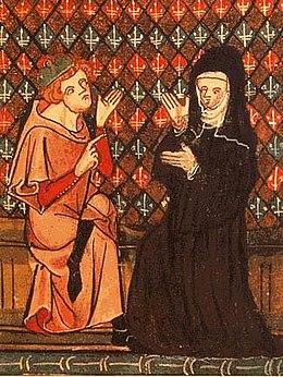 Abaelardus und Heloïse in einer Handschrift des Roman de la Rose, Chantilly, musée Condé (14. Jh.) (Quelle: Wikimedia)