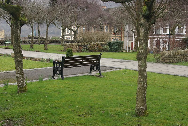 Aberfan Memorial Garden. The memorial garden has been established on the site of the Pantglas Junior School which was destroyed by a colliery tip in 1966.