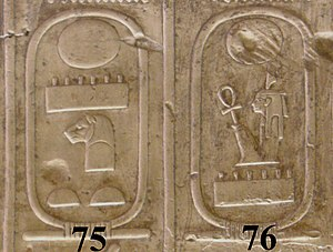 Leopard head (hieroglyph) - Example hieroglyph, Egyptian King list cartouche.