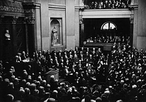 Académie des Sciences Morales et Politiques - President Léon Brunschvicg (on the left) addressing the assembly on the occasion of the centenary of the re-establishment of the Académie des sciences morales et politiques at the Institut de France in 1932.