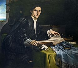 Lorenzo Lotto: Portrait of a gentleman in his studio