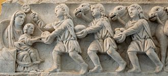Adoration of the Magi - Adoration of the Child Jesus by the three wise men or Magi; Sarcophagus relief (4th century.), Vatican