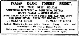Happy Valley, Queensland (Fraser Island) - Advertising for the Happy Valley tourist resort, 9 February 1935