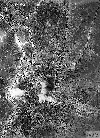 Capture of Schwaben Redoubt - Image: Aerial photograph of Thiepval bombardment 25 09 1916 IWM Q 63740