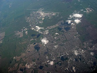 Fairfield, California - Aerial view of Fairfield, with Travis Air Force Base in the upper center.