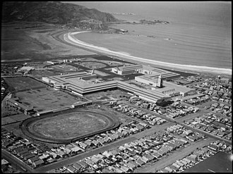 New Zealand Centennial Exhibition - Aerial view of Rongotai in 1939 showing the exhibition buildings