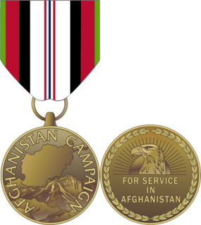 Afghanistan Campaign Medal military award of the United States
