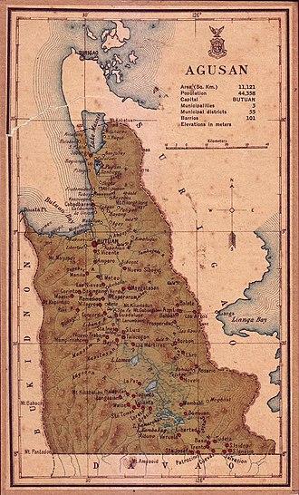 Agusan del Norte - Map of Agusan province in 1918