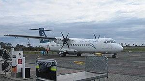 Hokitika Airport - ATR-72 (ZK-MCC) Prepares to return to Christchurch. Taken at Hokitika airport.