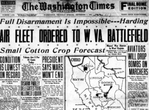 Airfleet ordered to West Virginia Battlefield during the Blair Mountain fight 1921.png