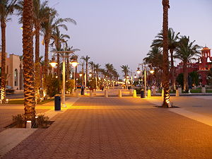 Walk way in Hurghada by night.