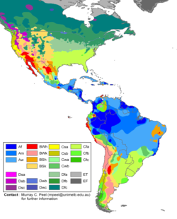 climate zones of the americas in the kppen climate classification system
