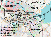 The 15 boroughs of Amsterdam and the ringroad A10