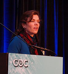 Amy Jo Kim speaking at the Game Developers Conference 2010