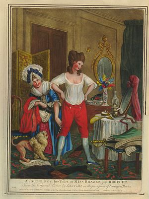 Breeches role - 1779 John Colley Playbill of an actress dressing in breeches