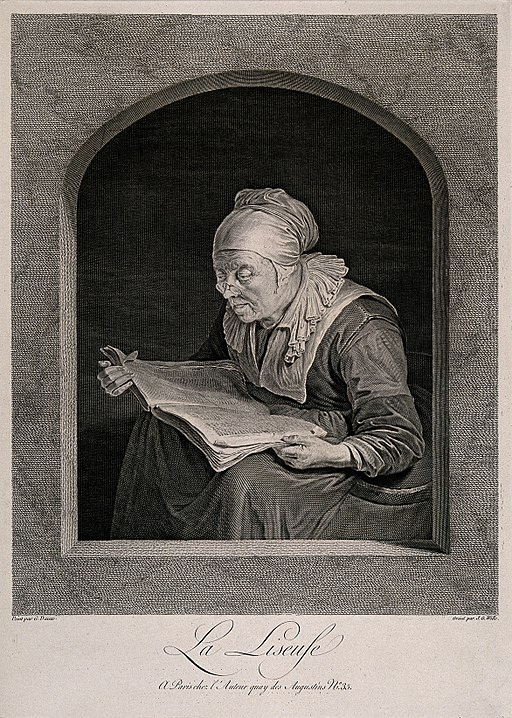 An old woman reading. Line engraving by J.G. Wille after G. Wellcome V0015827
