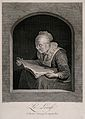 An old woman reading. Line engraving by J.G. Wille after G. Wellcome V0015827.jpg