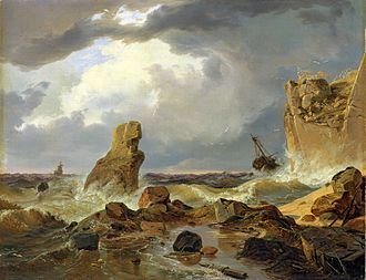 Andreas Achenbach - Surf on a Rocky Coast