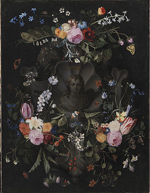 Andries Bosman - Cartouche with the Christ Child surrounded by a flower garland