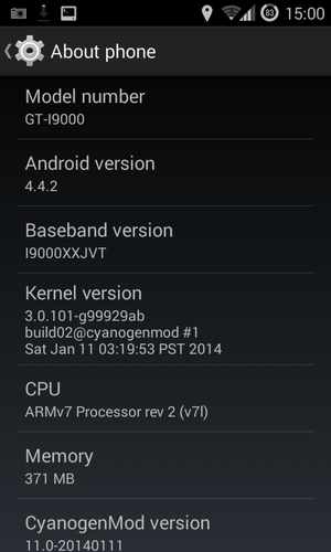 Samsung Galaxy S - Android 4.4.2, CyanogenMod 11 installed on Samsung Galaxy S I9000