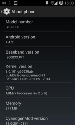 Samsung Galaxy S - Android 4.4.2, CyanogenMod 11 installed on Samsung Galaxy S I9000