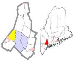 Location of Minot (in yellow) in Androscoggin County and the state of Maine
